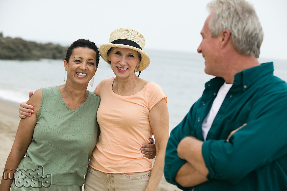 Three friends on beach