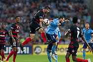 SYDNEY, AUSTRALIA - APRIL 13: Western Sydney Wanderers defender Brendan Hamill (5) contests a aerial ball with Sydney FC forward Adam Le Fondre (9) at round 25 of the Hyundai A-League Soccer between Western Sydney Wanderers and Sydney FC  on April 13, 2019 at ANZ Stadium in Sydney, Australia. (Photo by Speed Media/Icon Sportswire)