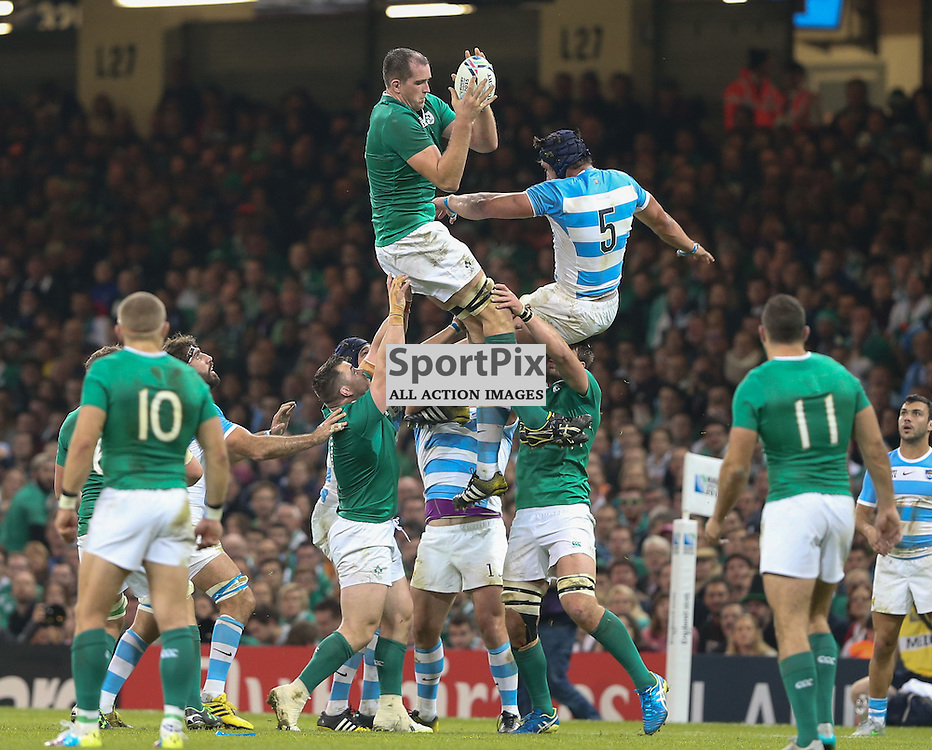 Devin Toner catches at the lineout during the Rugby World Cup Quarter Final, Ireland v Argentina, Sunday 18 October 2015, Millenium Stadium, Cardiff (Photo by Mike Poole - Photopoole)