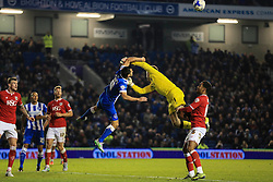 Brighton's Sam Baldock and Bristol City's Frank Fielding clash in the air - Mandatory byline: Jason Brown/JMP - 07966 386802 - 20/10/2015 - FOOTBALL - American Express Community Stadium - Brighton,  England - Brighton & Hove Albion v Bristol City - Championship