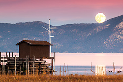 """Full Moon Over Lake Tahoe 16"" - Photograph of the November 2016 Super Moon Over Lake Tahoe. Shot from Tahoe City."