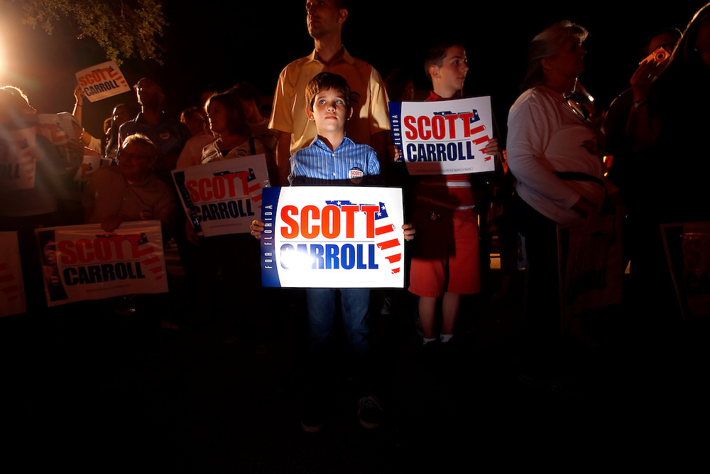 TAMPA, FL -- October 25, 2010 -- William Rojka, 10, of Tampa waits for Republican candidate for governor Rick Scott at a post-debate rally in Tampa, Fla., on Monday, September 25, 2010.  Scott was kicking off his final week of campaigning in the heated race for Florida Governor against Democrat Alex Sink.