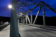 Night shot of bridge crossing over the Delaware River from Stockton, New Jersey to Centre Bridge, Pennsylvania.