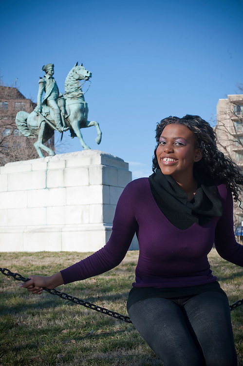 South African native Mandisa Mathobela walks the campus of the George Washington University where she is studying on a Fulbright scholarship to earn a master's degree.