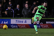 Forest Green Rovers Gavin Gunning(16) passes the ball forward during the EFL Sky Bet League 2 match between Forest Green Rovers and Mansfield Town at the New Lawn, Forest Green, United Kingdom on 29 January 2019.