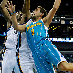 October 9, 2010; New Orleans, LA, USA; New Orleans Hornets shooting guard Marco Belinelli (8) shoots against the Memphis Grizzlies during the second quarter of a preseason game at the New Orleans Arena. Mandatory Credit: Derick E. Hingle