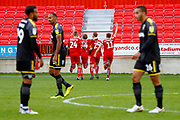 Accrington Stanley forward Billy Kee (29) scores a goal and celebrates to make the score 1-0 during the EFL Sky Bet League 1 match between Accrington Stanley and AFC Wimbledon at the Fraser Eagle Stadium, Accrington, England on 22 September 2018.
