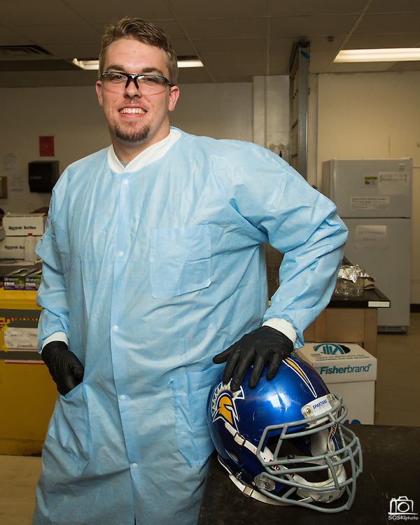 Wes Schweitzer, a San Jose State University student-athlete, poses for a portrait at San Jose State University's Duncan Hall in San Jose, California, on September 30, 2013.  Schweitzer is a sophomore studying chemistry and is a football offensive lineman (#72). (Stan Olszewski/SOSKIphoto)