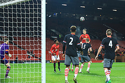 © Licensed to London News Pictures . 12/12/2016 . Manchester , UK . MUFC's LEE O'CONNOR unsuccessfully heads the ball towards the Southampton goal . Manchester United vs Southampton FA Youth Cup Third Round match at Old Trafford . Photo credit : Joel Goodman/LNP