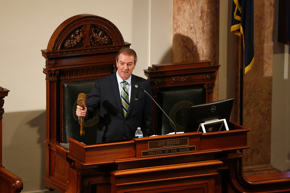 House Speaker Pro Tempore David Osborne, R-Prospect, adjourned the session during the General Assembly in the State Capitol in Frankfort, Ky., Monday, January 8, 2018.