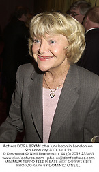 Actress DORA BRYAN at a luncheon in London on 9th February 2001.	OLF 24