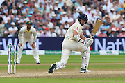 Stuart Broad of England plays a sweep shot during the International Test Match 2019 match between England and Australia at Edgbaston, Birmingham, United Kingdom on 3 August 2019.