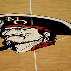 November 27, 2011; New Orleans, LA; A detailed view of the New Orleans Privateers logo at mid-court during the second half of a game against the Alcorn State Braves at the Lakefront Arena. New Orleans defeated Alcorn St. 63-56. Mandatory Credit: Derick E. Hingle-US PRESSWIRE
