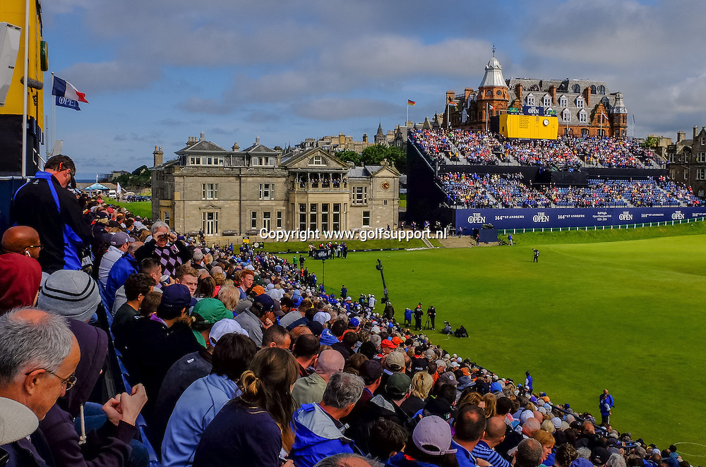 15-07-15 European Tour 2015, 144th OPEN CHAMPIONSHIP, Old Course, St. Andrews, Fife, Scotland, UK. 16 - 19 Jul.  The gallery on the grandstands around hole 1 and 18 during the 'Champion Golfers' Challenge'.