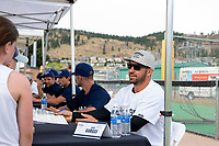 KELOWNA, CANADA - JUNE 28: Retired NHL player Josh Gorges sits at an autograph table during the opening charity game of the Home Base Slo-Pitch Tournament fundraiser for the Kelowna General Hospital Foundation JoeAnna's House on June 28, 2019 at Elk's Stadium in Kelowna, British Columbia, Canada.  (Photo by Marissa Baecker/Shoot the Breeze)