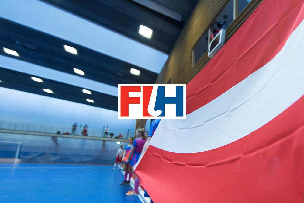 Hockey, Seizoen 2017-2018, 09-02-2018, Berlijn,  Max-Schmelling Halle, WK Zaalhockey 2018 MEN, Austria - Switzerland 2-2, Flag Austria