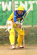 Mike Hussey of the Chennai Super Kings looks to attack a delivery during the Superkings  training session held at St Georges Park in Port Elizabeth on the 17 September 2010..Photo by: Shaun Roy/SPORTZPICS/CLT20