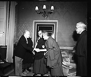 Dalai Lama Visits Áras an Uachtaráin. (F77). 10/10/1973, 10th October 1973.  Picture shows President Erskine Childers welcoming The Dalai Lama to Áras an Uachtaráin on his visit to Ireland.
