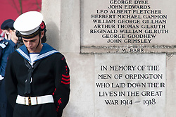 © Licensed to London News Pictures. 11/11/2018. Orpington, UK.A cadet stand with head bowed at war memorial.  Ex-transport minister and MP for Orpington Jo Johnson attending the Remembrance day service at Orpington war memorial to mark one hundred years since the end of the first world war.Photo credit: Grant Falvey/LNP