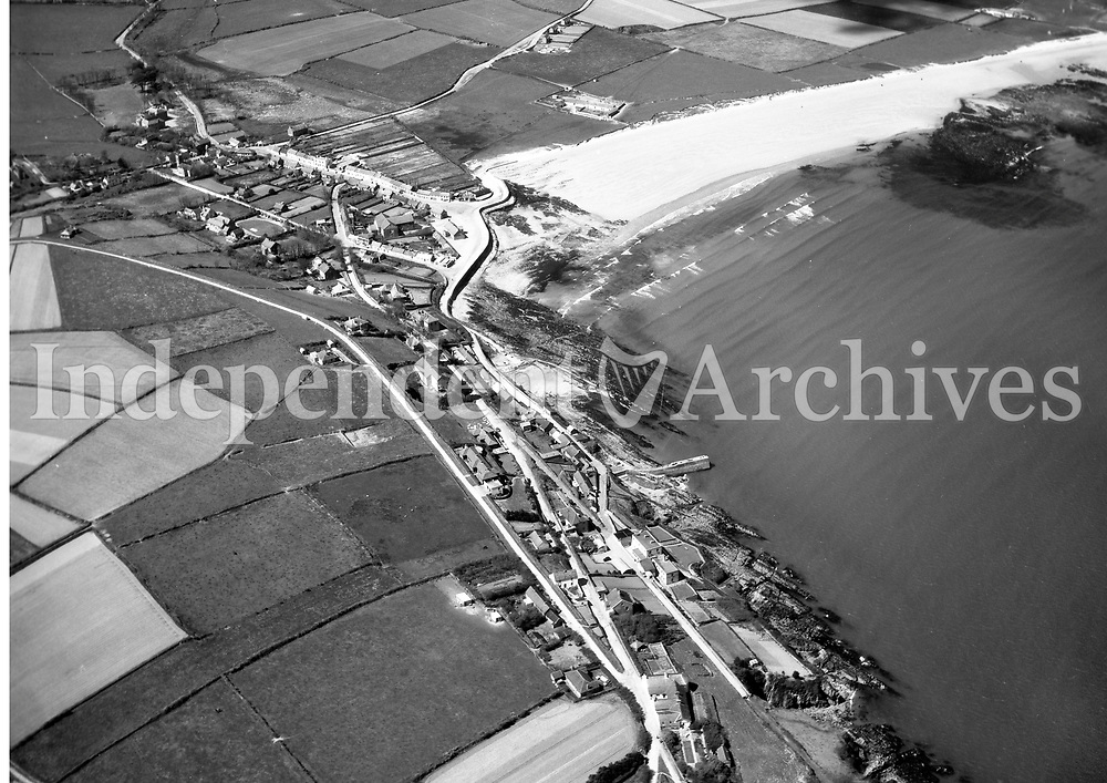 A14 Ardmore Bay.   No Date. (Part of the Independent Newspapers Ireland/NLI collection.)<br /> <br /> <br /> These aerial views of Ireland from the Morgan Collection were taken during the mid-1950's, comprising medium and low altitude black-and-white birds-eye views of places and events, many of which were commissioned by clients. From 1951 to 1958 a different aerial picture was published each Friday in the Irish Independent in a series called, 'Views from the Air'.<br /> The photographer was Alexander 'Monkey' Campbell Morgan (1919-1958). Born in London and part of the Royal Artillery Air Corps, on leaving the army he started Aerophotos in Ireland. He was killed when, on business, his plane crashed flying from Shannon.