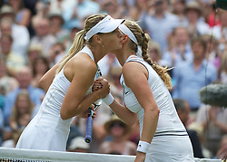 LONDON, ENGLAND - Saturday, July 2, 2011: Maria Sharapova (RUS) kisses Petra Kvitova (CZE) after the Ladies' Singles Final on day twelve of the Wimbledon Lawn Tennis Championships at the All England Lawn Tennis and Croquet Club. (Pic by David Rawcliffe/Propaganda)
