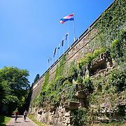 One part of the Defensive walls in Luxembourg city's old town center