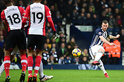 West Bromwich Albion midfielder Chris Brunt (11) lifts his free kick over the Southampton wall during the Premier League match between West Bromwich Albion and Southampton at The Hawthorns, West Bromwich, England on 3 February 2018. Picture by Dennis Goodwin.