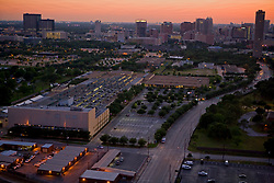 Aerial view of Texas Medical Center in Houston at sunset.