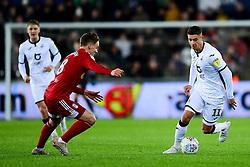 Kristoffer Peterson of Swansea City is marked by Stefan Johansen of Fulham  - Mandatory by-line: Ryan Hiscott/JMP - 29/11/2019 - FOOTBALL - Liberty Stadium - Swansea, England - Swansea City v Fulham - Sky Bet Championship