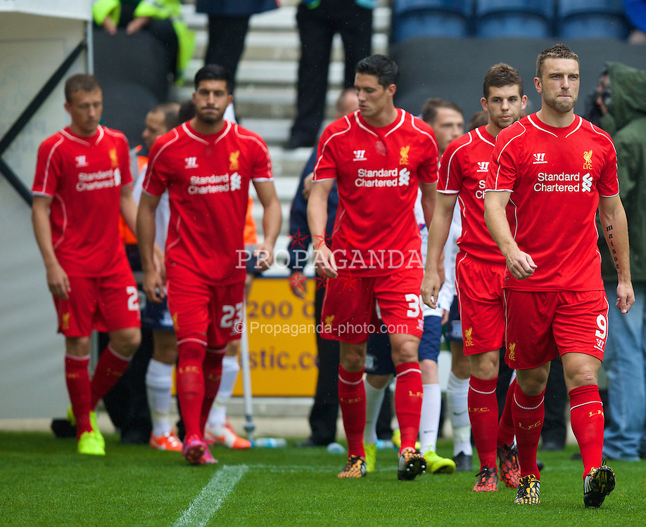 PRESTON, ENGLAND - Saturday, July 19, 2014: Liverpool's Rickie Lambert walks out for his first game against Preston North End during a preseason friendly match at Deepdale Stadium. (Pic by David Rawcliffe/Propaganda)
