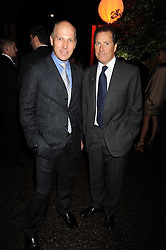 Left to right, PEREGRINE ARMSTRONG-JONES and VISCOUNT LINLEY at the annual Serpentine Gallery Summer Party in Kensington Gardens, London on 9th September 2008.