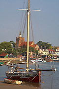 "Great Britain England Essex Maldon River Blackwater Hythe Quay Oyster Boat ""Telegraph"" Moored in Channel rising tide"