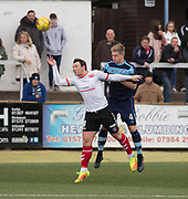 Forfar's Michael Travis beats Clyde's David Gormley in the air during Forfar's 3-0 win over Clyde in SPFL League Two  at Station Park, Forfar, Photo: David Young<br /> <br />  - &copy; David Young - www.davidyoungphoto.co.uk - email: davidyoungphoto@gmail.com