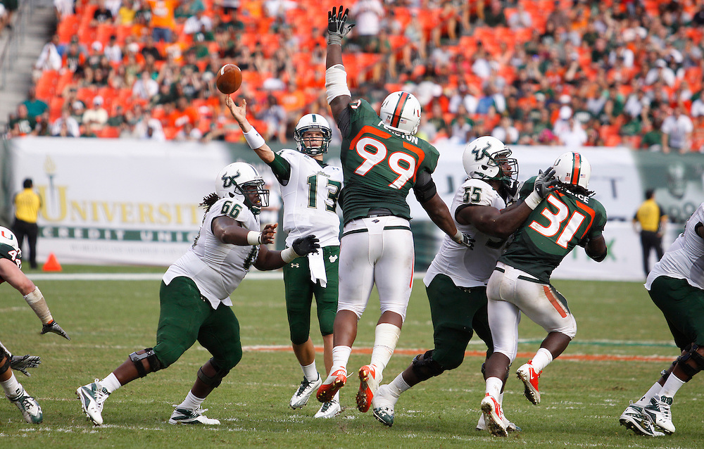 MIAMI GARDENS, FL - NOVEMBER 27: Bobby Eveld #13 of the South Florida Bulls in action during the game against the Miami Hurricanes at Sun Life Stadium in Miami Gardens, Florida on November 27, 2010. South Florida defeated the Hurricanes 23-20.