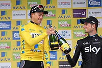 Celebration with champagne on podium BOASSON HAGEN Edvald (Nor) Yellow Leader Jersey/ DOULL Owain (Gbr) during the 12th Tour of Britain 2015, Stage 8, London - London (86,8Km) on September 13, 2015 - Photo Tim De Waele / DPPI