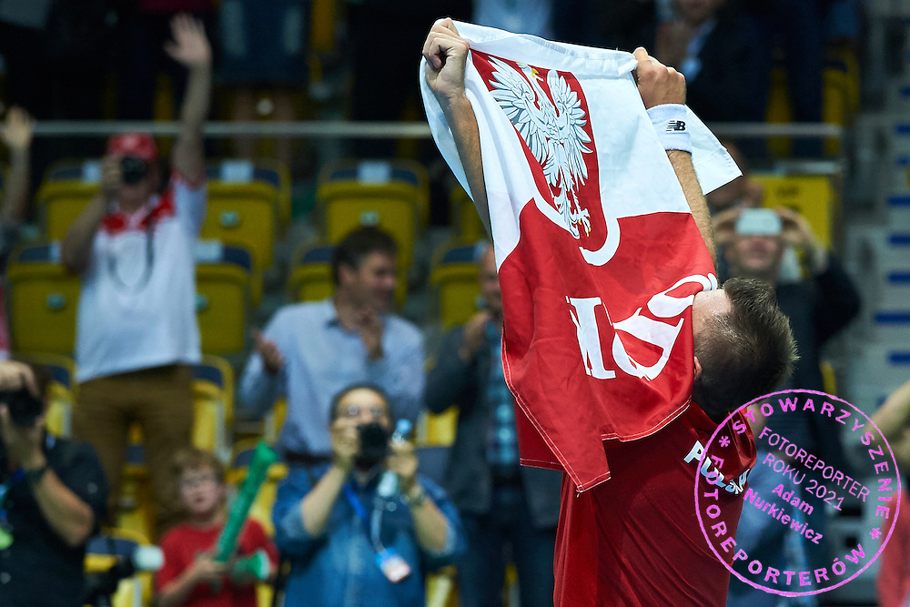 Michal Przysiezny of Poland celebrates his victory during Davis Cup Tie World Group Play-off Poland v Slovakia at Gdynia Arena Hall in Gdynia, Poland.<br /> <br /> Poland, Gdynia, September 20, 2015<br /> <br /> Picture also available in RAW (NEF) or TIFF format on special request.<br /> <br /> For editorial use only. Any commercial or promotional use requires permission.<br /> <br /> Adam Nurkiewicz declares that he has no rights to the image of people at the photographs of his authorship.<br /> <br /> Mandatory credit:<br /> Photo by &copy; Adam Nurkiewicz / Mediasport