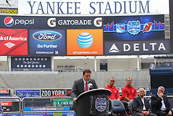 Aug 8, 2013; New York, NY, USA; New York Rangers Assistant General Manager Jeff Gorton speaks at a press conference at Yankee Stadium. Two outdoor regular-season NHL games will be played at Yankee Stadium during the 2013-14 season as part of the 2014 Stadium Series.