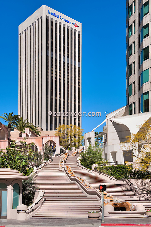 Bunker Hill, waterfall Steps, Spanish Steps, Bank Tower, the tallest building in Los Angeles, Architecture, Architectural, Buildings, Calif. California CA, Downtown,