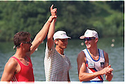 FISA World Cup 1990's, at Lucerne International Regatta, Lake Rotsee, Lucerne SWITZERLAND and Henley Royal Regatta..Xeno Muller SUI M1X [left] Juri Janssonn RUS M1X [EST M1X] Iztok Cop [SLO M1X] .FISA World cup events Lucerne and HRR Pictures from the first World Cup events, Men's and Women's singles 1990/91 FISA World Cup Lucerne and