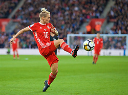 SOUTHAMPTON, ENGLAND - Friday, April 6, 2018: Wales' Jessica Fishlock during the FIFA Women's World Cup 2019 Qualifying Round Group 1 match between England and Wales at St. Mary's Stadium. (Pic by David Rawcliffe/Propaganda)