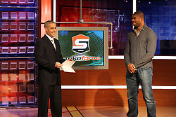 Feb 10, 2011; Bristol, CT, USA; Alistair Overeem visits the set of MMA Live with host Jon Anik at the ESPN Headquarters in Bristol, CT.