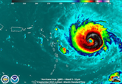 September 5, 2017 - Atlantic Ocean - VHRS I-Band image. National Weather Service reported Hurricane Irma had become a Category 5 with sustained winds of 180 miles per hour. That means Irma now ranks among the most powerful hurricanes (as measured by windspeed) ever recorded. Florida has declared a statewide emergency in response to Hurricane Irma, as it continues to churn toward the United States. (Credit Image: © NOAA/ZUMA Wire/ZUMAPRESS.com)