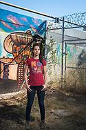 Border Angels Volunteer Grecia Garcia at Chicano Park. San Diego. California. Foto Mauricio Bustamante. 6.10.17