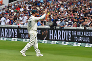 David Warner of Australia waves at the fans in the Hollies stand as they taunt him during the International Test Match 2019 match between England and Australia at Edgbaston, Birmingham, United Kingdom on 3 August 2019.