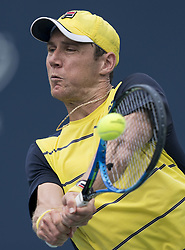 TORONTO, Aug. 7, 2018  Matthew Ebden of Australia hits a return during the first round of men's singles match against Peter Polansky of Canada at the 2018 Rogers Cup in Toronto, Canada, Aug. 6, 2018. Peter Polansky won 2-0. (Credit Image: © Xinhua via ZUMA Wire)