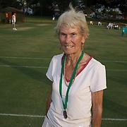 Joan Bak, Canada,  80  Womens Singles Bronze medal winner during the 2009 ITF Super-Seniors World Team and Individual Championships at Perth, Western Australia, between 2-15th November, 2009.