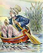 Uncle Sam (America) in danger of sinking due to President McKinley (Dingley Bill) and his policy on monopolies. Cartoon c1900.