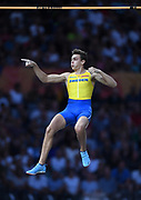 Mondo Duplantis aka Armand Duplantis (SWE) celebrates  after winning the pole vault in a World U20 and  Swedish national record 19-10 1/4 (6.05m) in the European Championships in Berlin, Germany, Sunday, Aug 12, 2018. (Jiro Mochizuki/Image of Sport)