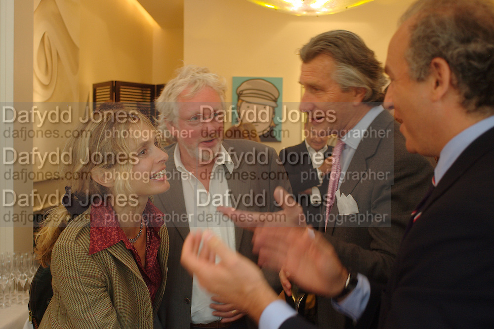 Maryam D'Abo, Hugh Hudson, Arnaud Bamberger and Charles Finch. Lunch party for Brooke Shields hosted by charles finch and Patrick Cox. Mortons. Berkeley Sq. 6 July 2005. ONE TIME USE ONLY - DO NOT ARCHIVE  © Copyright Photograph by Dafydd Jones 66 Stockwell Park Rd. London SW9 0DA Tel 020 7733 0108 www.dafjones.com