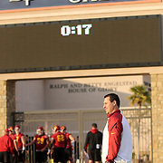 The USC Trojans practiced for the second day at Bishop Gorman High School in preparation for the Royal Purple Las Vegas Bowl to be held 12/21/13.  11/19/13, 4 pm, Photo by Barry Markowitz